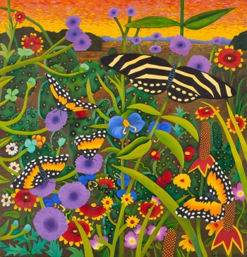 """<h5>Bordered Patch and Zebra Butterflies</h5><p>50 x 48 """" <br/> Oil on canvas</p>"""
