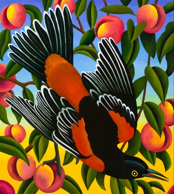 """<h5>Orchard Oriole with Peaches</h5><p>40 x 36 """" <br/> Oil on canvas</p>"""