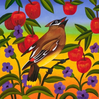 """<h5>Cedar Waxwing with Apples</h5><p>16 x 16 """" <br/> Oil on canvas</p>"""