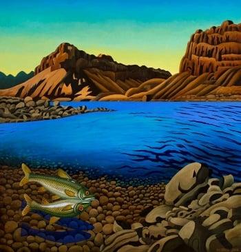 "<h5>El Rincon Lower Colorado River</h5><p>50 x 48 "" <br/> Oil on canvas</p>"
