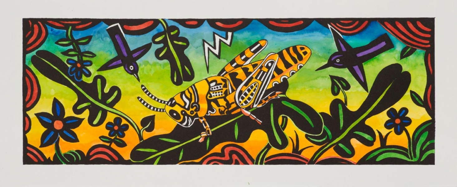 "<h5>Grasshopper</h5><p>Watercolor on black and white lithograph  <br/> 8.5 x 24 ""</p>"