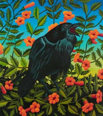 "<h5>Harbinger</h5><p>40 x 36 "" <br/> Oil on canvas</p>"