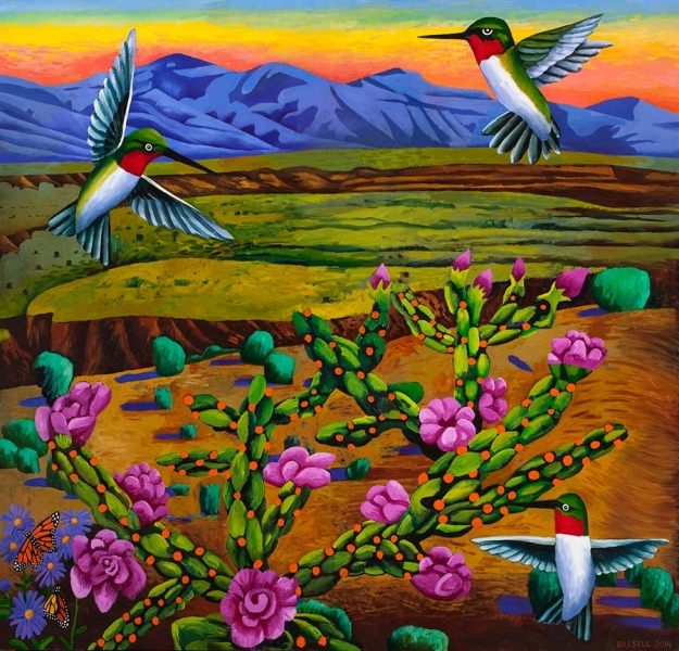 """<h5>Hummingbirds and Cholla</h5><p>48 x 50 """" <br/> Oil on canvas</p>"""