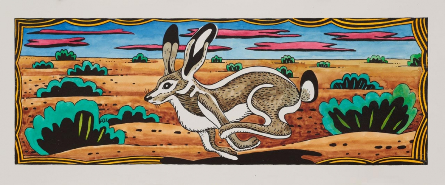"<h5>Jackrabbit</h5><p>Watercolor on black and white lithograph  <br/> 8.5 x 24 ""</p>"