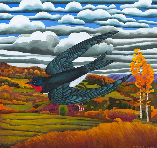 """<h5>Leaving Vermont</h5><p>30 x 32 """" <br/> Oil on canvas</p>"""