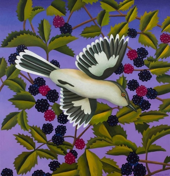 "<h5>Mockingbird with Blackberries</h5><p>50 x 48 "" <br/> Oil on canvas</p>"