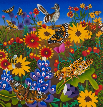 """<h5>Roadrunner with Butterflies and Grasshopper</h5><p>50 x 48 """" <br/> Oil on canvas</p>"""