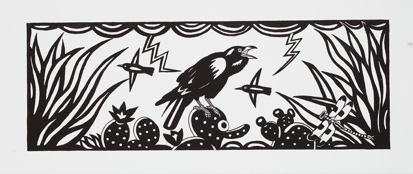 """<h5>Raven</h5><p>8.5 x 24 """"   Lithograph</p>"""