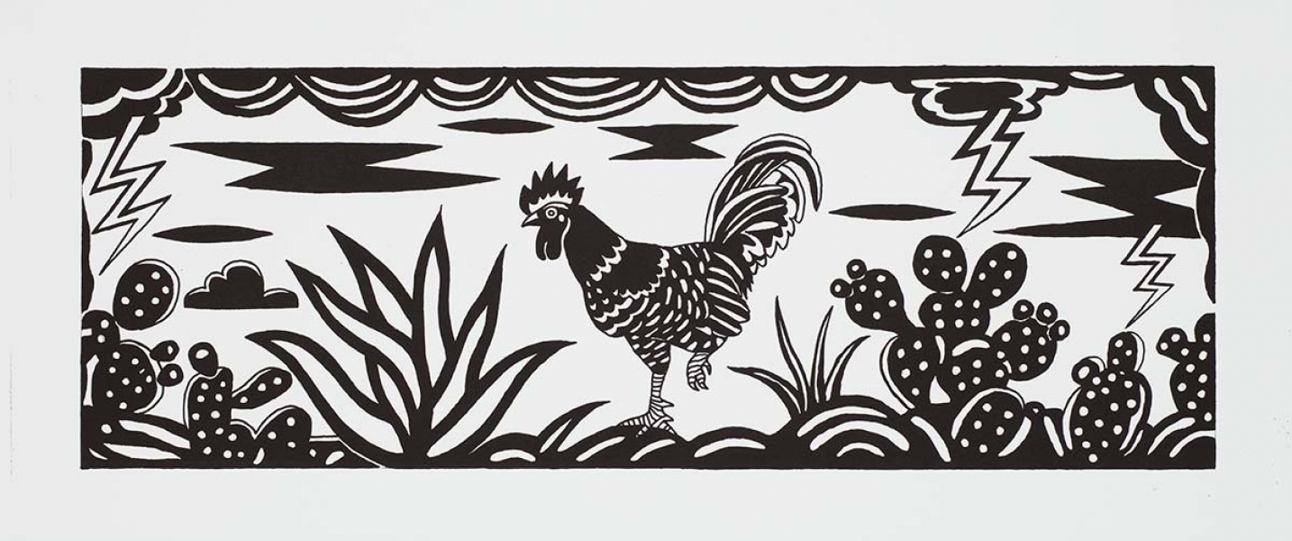 "<h5>Rooster</h5><p>8.5 x 24 ""   Lithograph</p>"