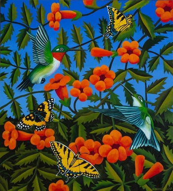 """<h5>Trumpet Vine with Two Hummingbirds</h5><p>40 x 36 """" <br/> Oil on canvas</p>"""