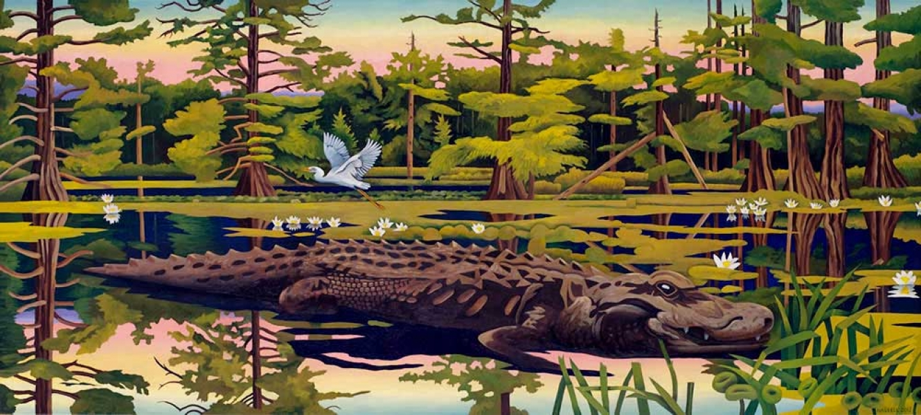 "<h5>Alligator and Egret</h5><p>36 x 80 ""Oil on canvas</p>"