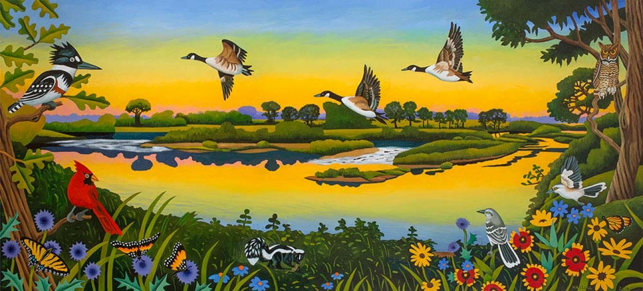 "<h5>Bend on the Brazos</h5><p>36 x 80 ""Oil on canvas</p>"