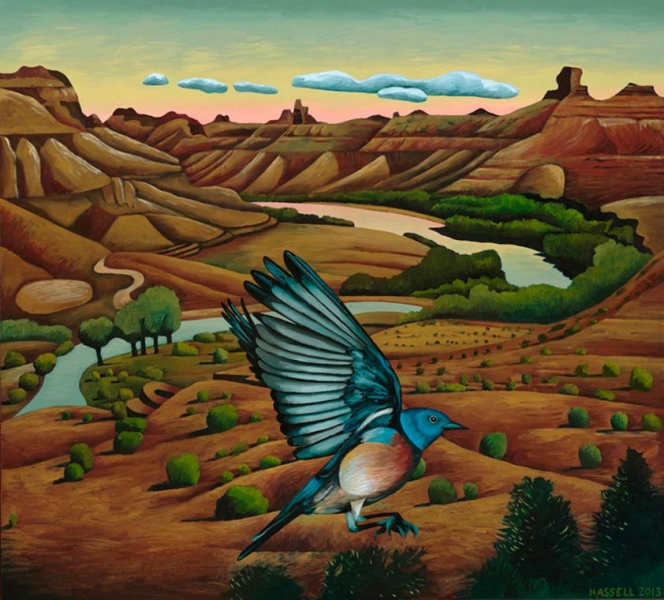 "<h5>Bluebird at the Bend</h5><p>36 x 40 ""Oil on canvas</p>"