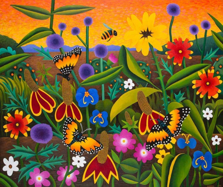 "<h5>Bordered Patch Butterflies</h5><p>60 x 72 ""Oil on canvas</p>"