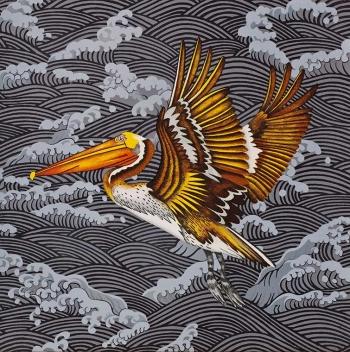 "<h5>Brown Pelican, Turbulent Sea II (Silver)</h5><p>22 x 22 ""  Lithograph</p>"