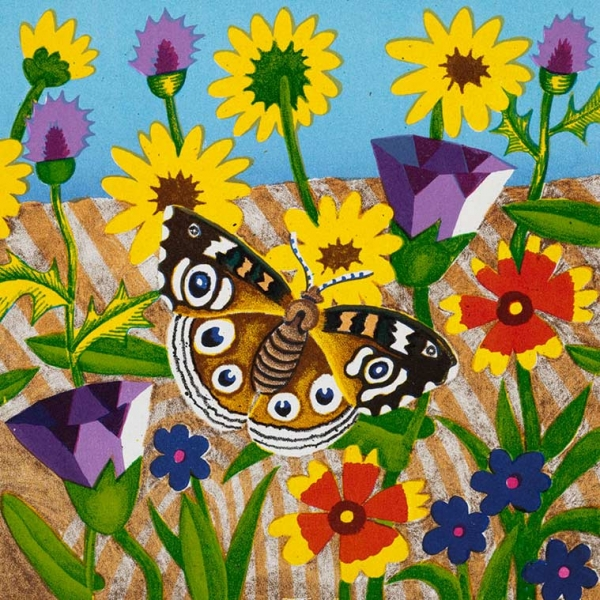 <h5>Buckeye Butterfly and Wildflowers</h5><p>9 x 9 ″Lithograph</p>