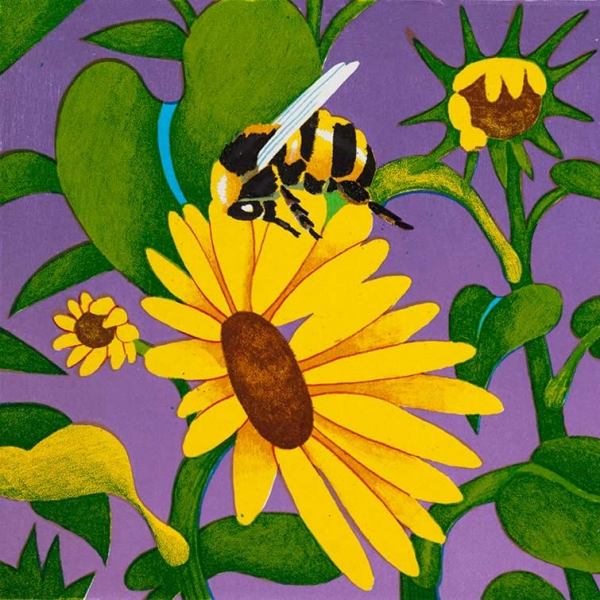 <h5>Bumblebees and Sunflowers</h5><p>9 x 9 ″Lithograph</p>