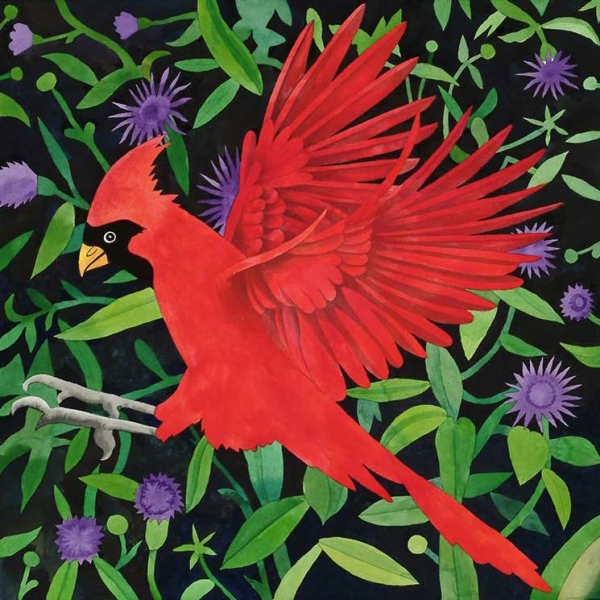 "<h5>Cardinal with Thistles</h5><p>22 x 22 ""Lithograph</p>"