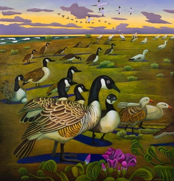"<h5>Canadian and Snow Geese, Eagle Lake, Texas</h5><p>50 x 48 ""Oil on canvas</p>"