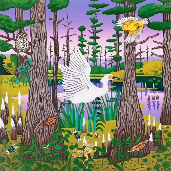 """<h5>Egret, Grassy Lake</h5><p>22 x 22 """"  Lithograph</p>"""