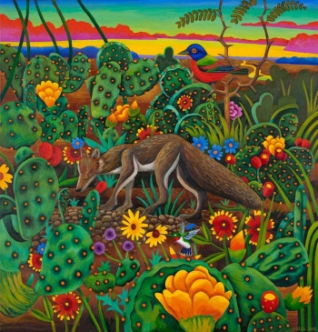 "<h5>Fox in a Cactus Patch</h5><p>50 x 48 ""Oil on canvas</p>"