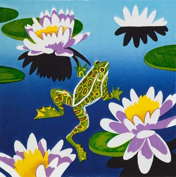 <h5>Frog and Blooming Lilies</h5><p>9 x 9 ″Lithograph</p>