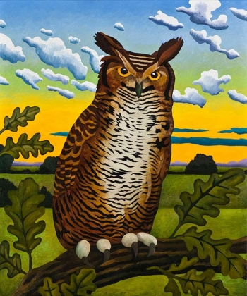 "<h5>Horned Owl at Evening</h5><p>30 x 22 ""Oil on canvas</p>"