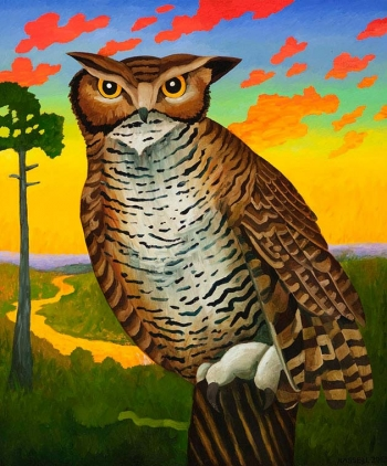 "<h5>Horned Owl with Fiery Sky</h5><p>36 x 30 ""Oil on canvas</p>"