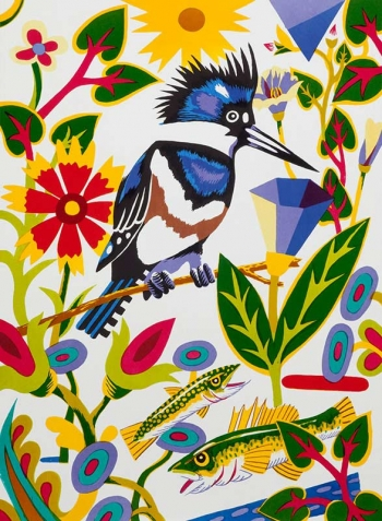 "<h5>Kingfisher - Into White</h5><p>30 x 22 ""Lithograph</p>"