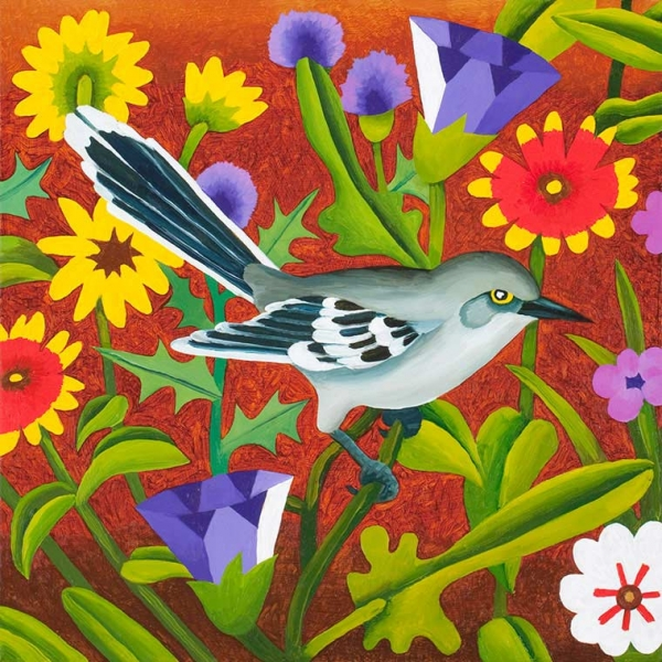 "<h5>Mockingbird with Wildflowers</h5><p>12 x 12 ""Oil on canvas</p>"