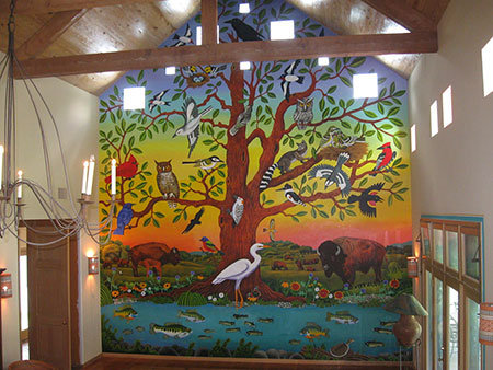 "The completed mural, called ""Tree of Life,"" in the main house of the Madroño Ranch."