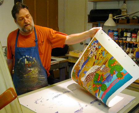 Peter Webb, my lithographer in Austin, pulling Roadrunner.