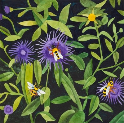 BUMBLEBEES AND HORSEMINT watercolor 16x16 copy